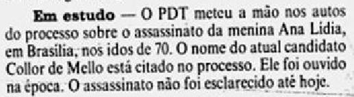 Detalhe da Coluna Coisas de Política de 12/08/1989