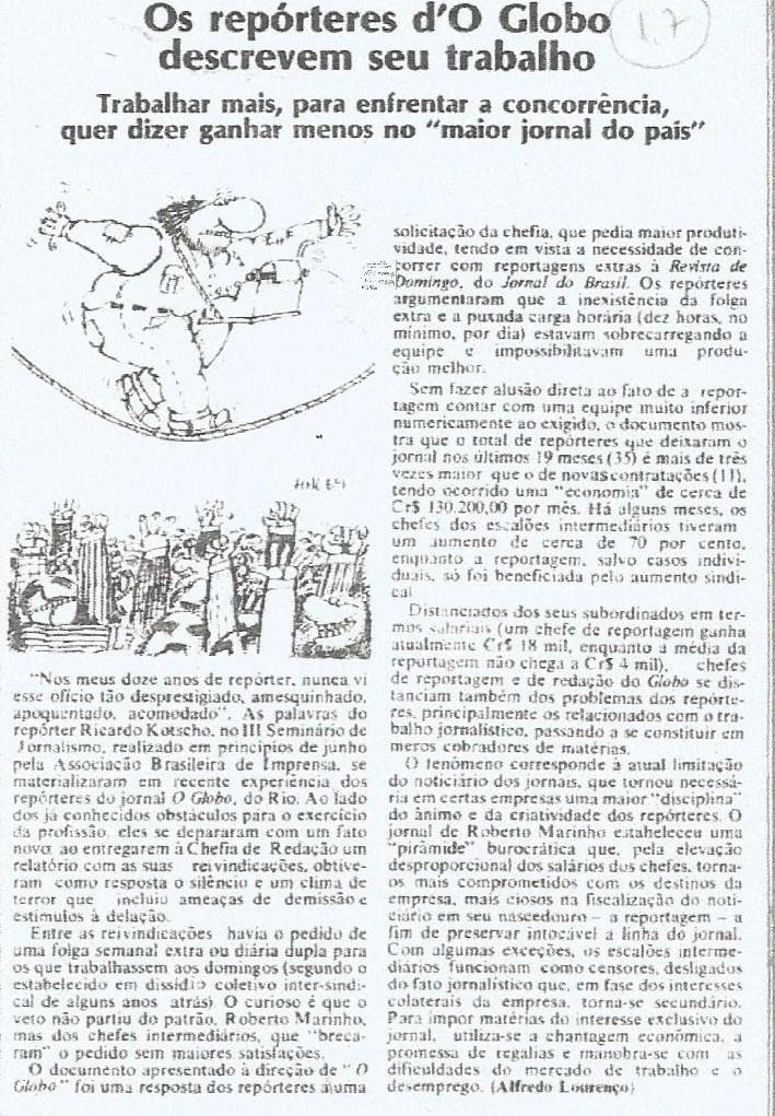 Reportagem sobre O Globo  - Movimento Edição 60 23,08.76 -