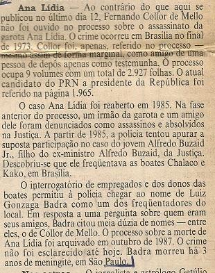 Detalhe da Coluna Coisas de Política de 24/08/1989