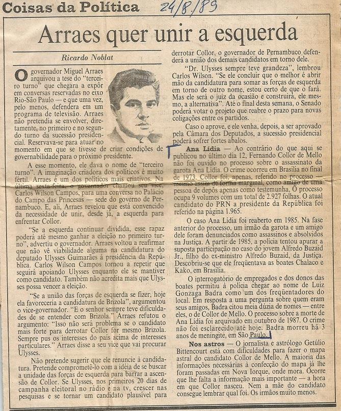 Reprodução Jornal do Brasil edição de 24 de agosto de 1989
