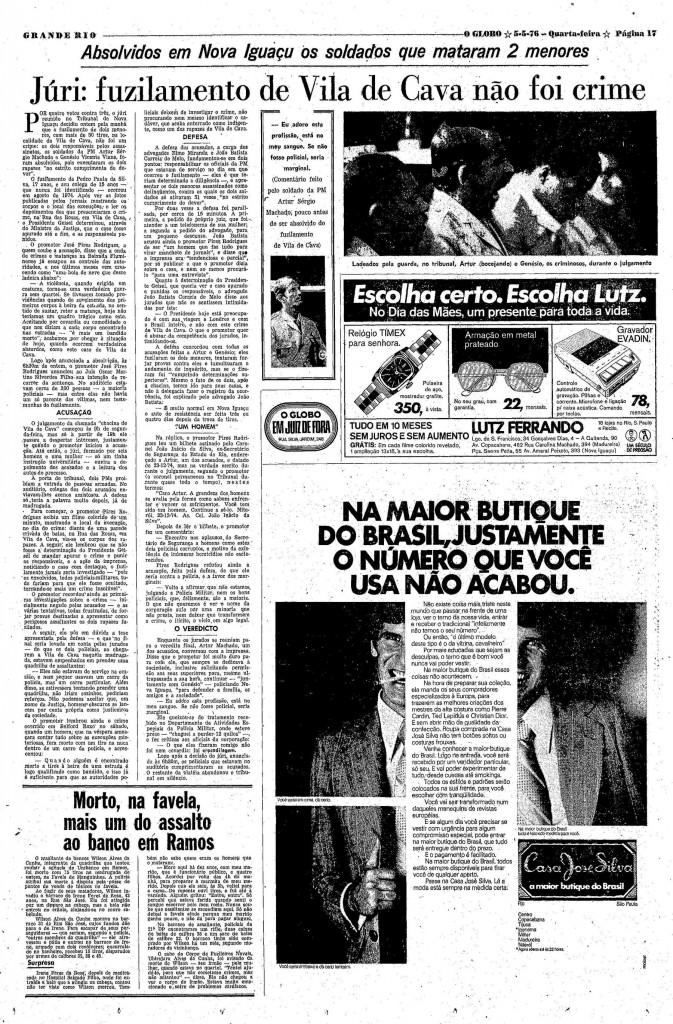 A matéria do julgamento, na edição de 5 de maio de 1976 - Reprodução