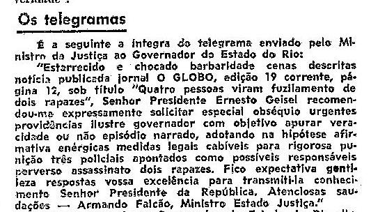 Transcrição do Telegrama do Ministro da Justiça ao governador do antigo Estado do Rio de Janeiro