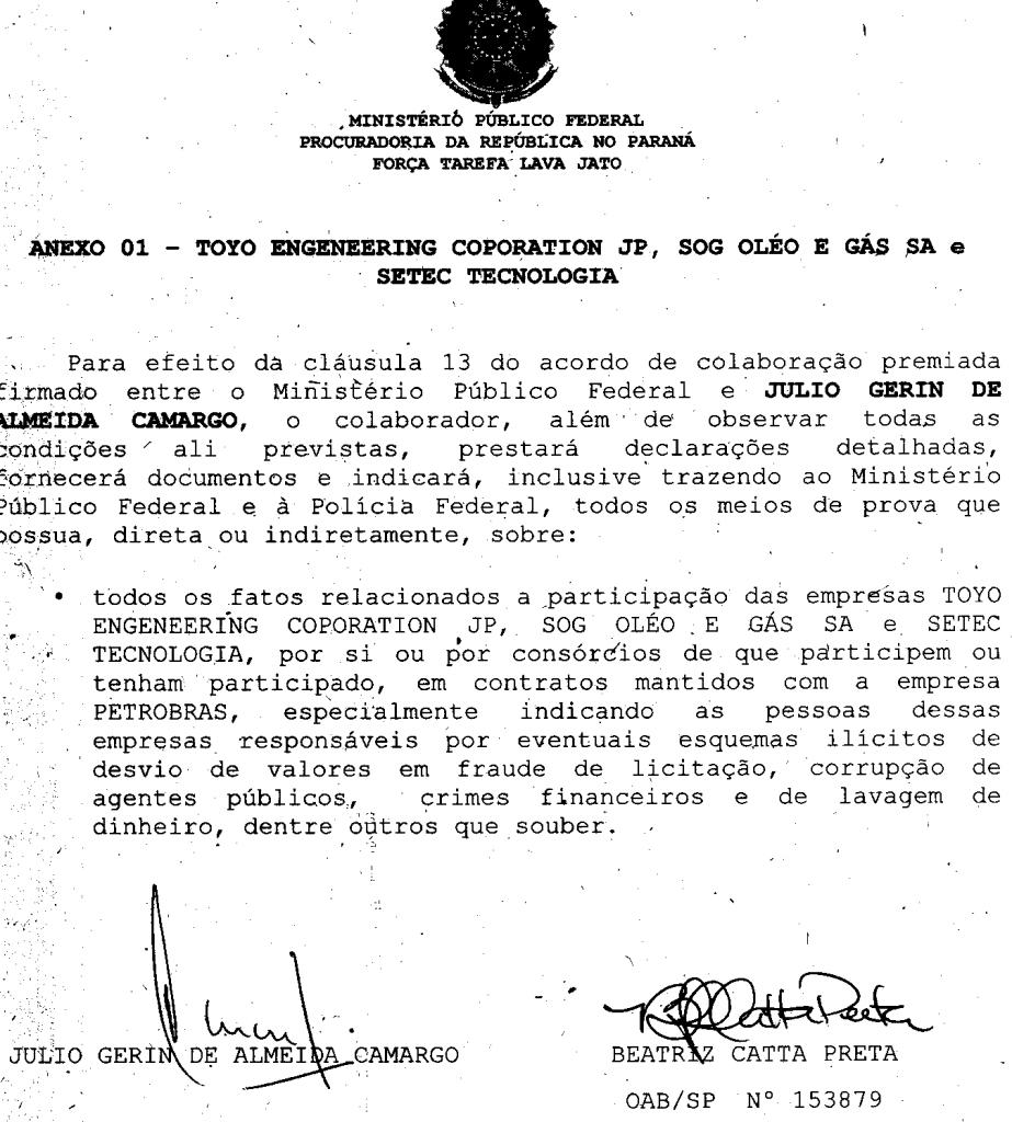 Na delação premiada de Camargo o compromisso de falar tudo (no detalhe)