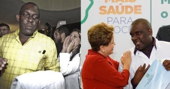 O médico Juan Delgado é agredido por colegas em sua chegada; à direita, Dilma pede desculpas oficiais em nome do governo) - Reprodução