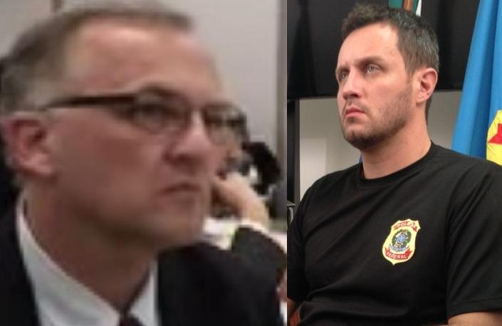 Agente Dalmey Werlang (à esquerda) e DPF Mario Henrique Fanton  - Reproduções