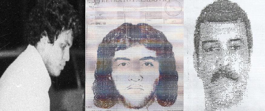 O agente Guarany em 1981 (esq.); o retrato falado feito em 1990 (centro); e Guarany em foto mais recente, levada à CEV-Rio pelo jornalista Chico Otávio. (Reprodução)