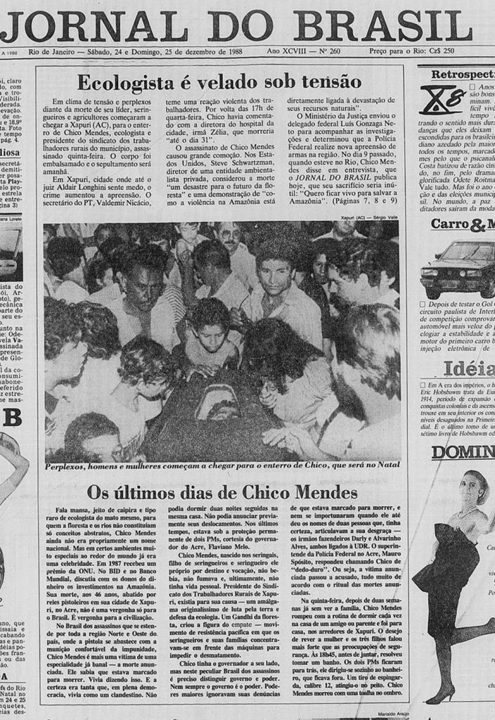 Primeira página do Jornal do Brasil - 24/25 dezembro de 1988 - Jornalismo autêntico - reprodução