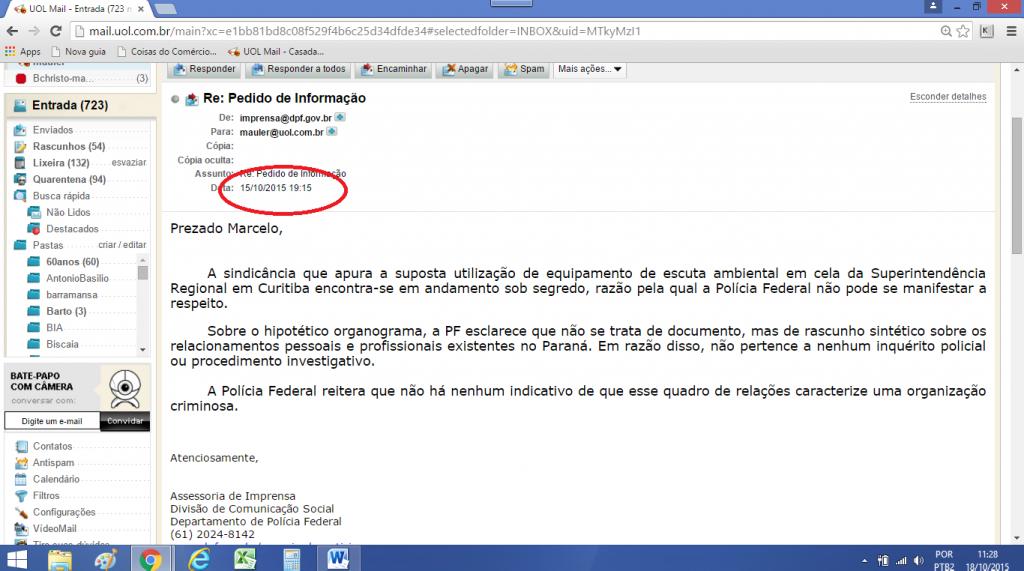 copia do e-mail do DPF que chegou às 19H15
