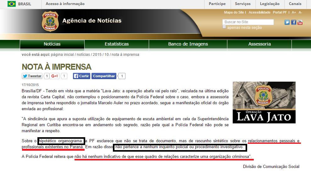 Nota à imprensa do DPF reproduzindo o e-mail que nos foi enviado depois de a matéria ter sido remetida à São Paulo.