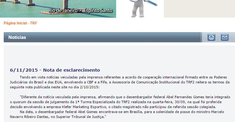 TRF-2 divulgou duas notas esclarecendo que o desembargador Abel Gomes não participou do julgamento - Reprodução
