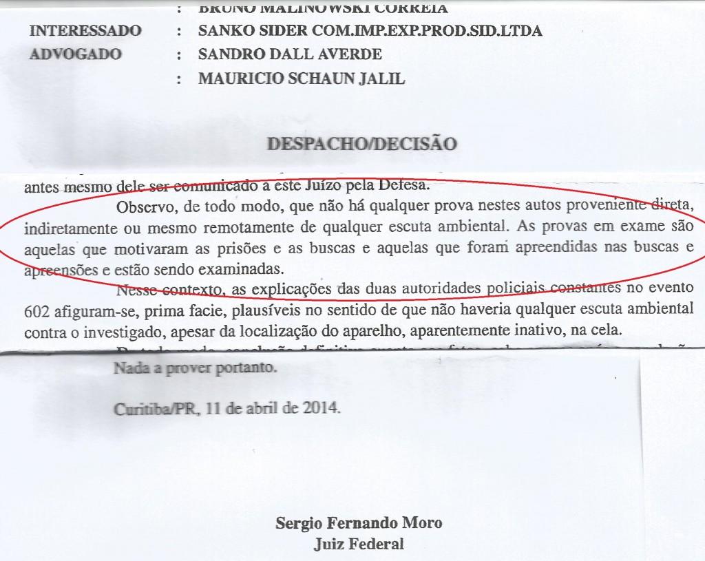 Trecho do despacho do juiz Moro no dia 11 de abril de 2014, após  ser comunicado da descoberta do grampo na cela de Youssef (Reprodução editada)