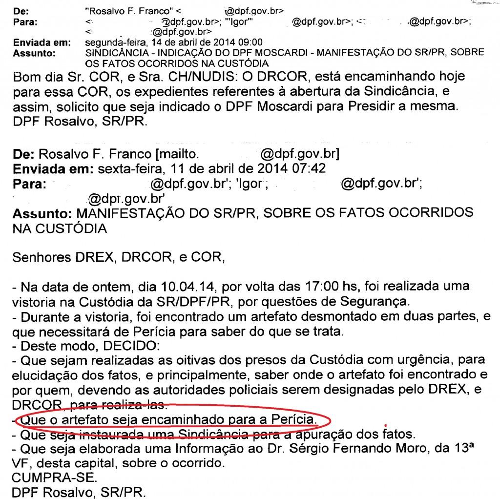 Na mensagem eletrônica do superintendente Rosalvo a decisão que jamais foi cumprida.