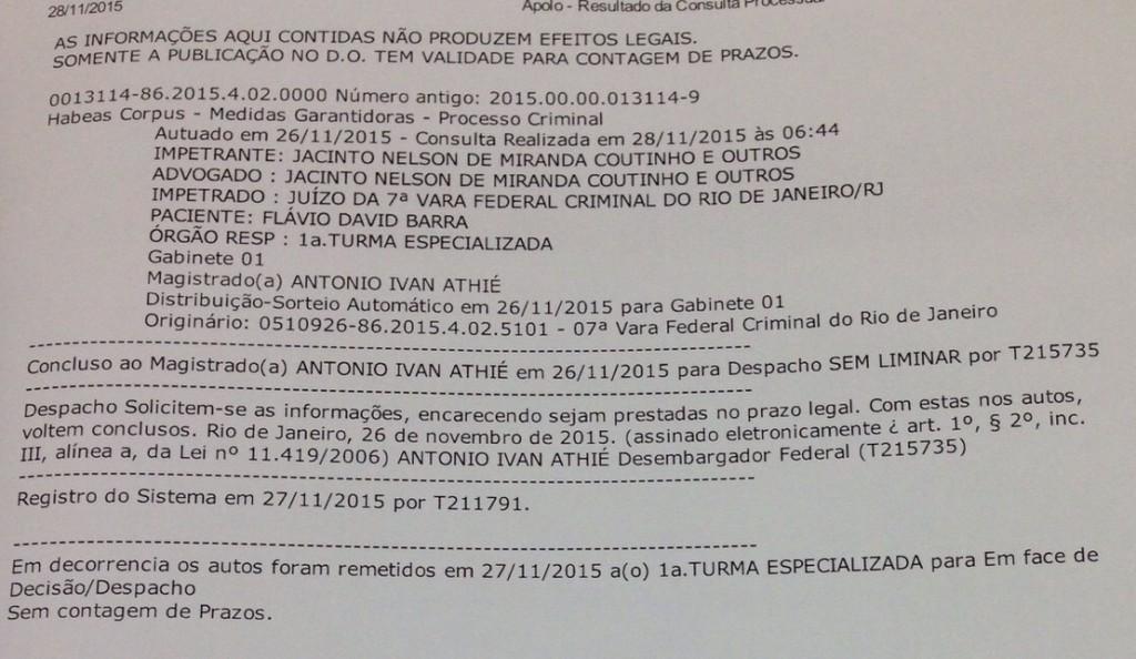 HC distribuído eletronicamente ao desembargador Antônio Ivan Athié - reprodução