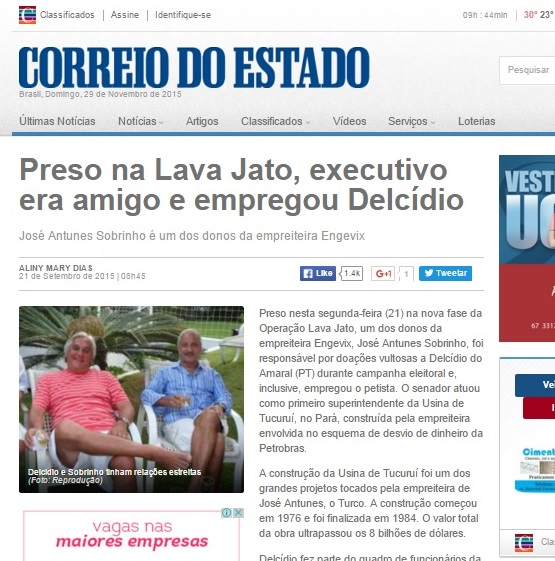 José Antunes Sobrinhjo e Delcídio do Amaral, amigpos antigos - Foto: Reprodução Correio do Estado (MS)