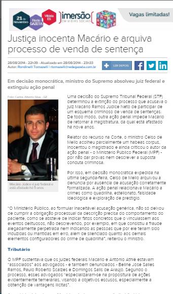 Em agosto de 2014 o STF trancou uma ação penal contra Macário Júdice e Ivan Athiê, desembargador que votou pela absolvição do juiz nesse atual processo - Reprodução site A Gazeta (ES)