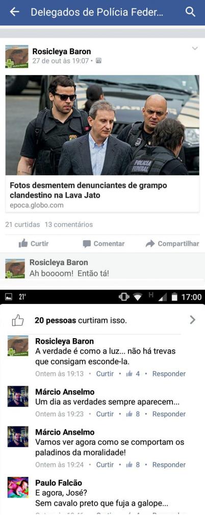 Na página do Face Book a comemoração dos delegados, inclusive da corregedora - reprodução