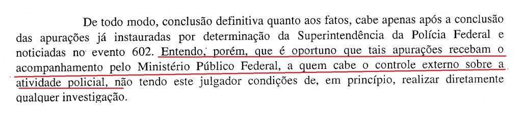 Trecho do despacho doo juiz Sérgio Moro determinando o acompanhamento do MPF na sindicância sobre o grampo (Reprodução editada)