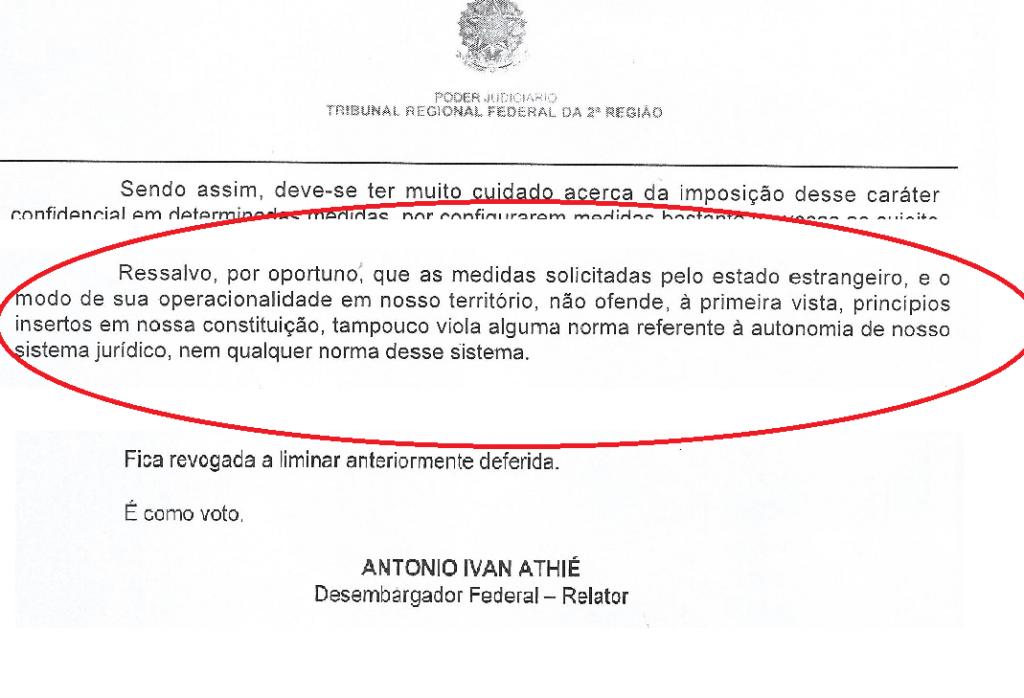 Desembargador Athiê vota contra o pedido de vistas e não questiona a cooperação - Reprodução