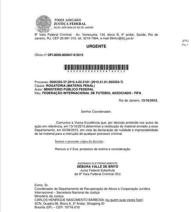 Oficio da juíza ao DRCI publicado em O Estadão - reprodução