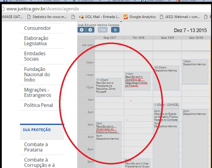 Na agenda do ministro da Justiça terça-feira, 07.12 não aparrece o encontro com o Comandante da 5ª RM. Na véspera, ele esteve com o governador e o secretário de segurança do Paraná.