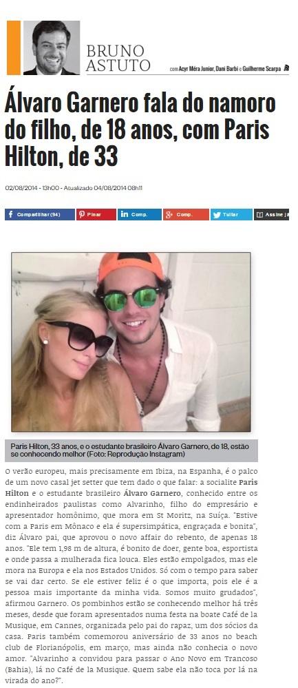 Na coluna de Brfuno Astuto, de Época, o registro da pegação de Alvarinho com Paris Hilton. Namoro aprovado pelo pai.