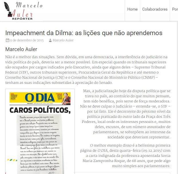 Postagem do blog no dia 9 de dezembro. retratando a experiência do impeachment de Fernando Collor que serviu de base à decisão do Supremo no dia 17