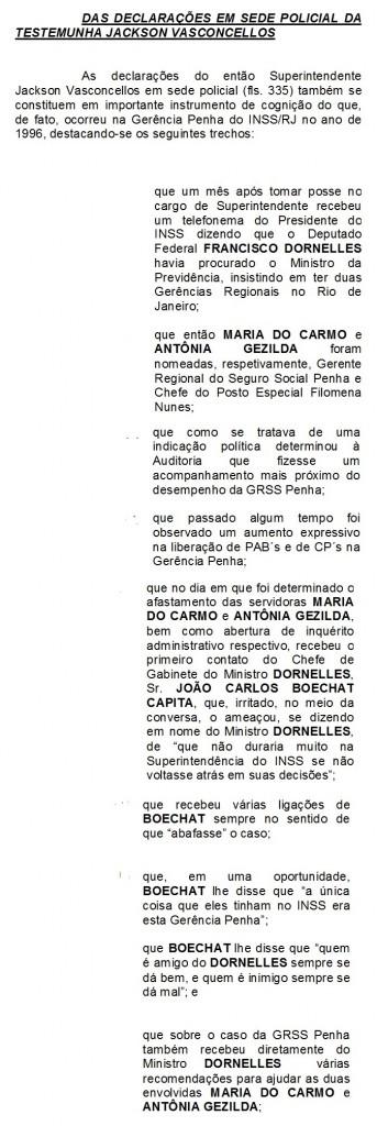 Trecho do depoimento do depoimento do ex-superintendente do INSS, Jackson Vasconcellos, transcrito na denúncia