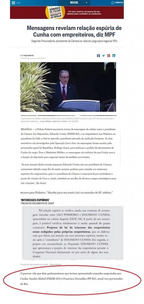 Em O Globo,do dia 17/12, o nome do vice governador é apenas citado no meio da matéria, sem maiores referências. - Reprodução