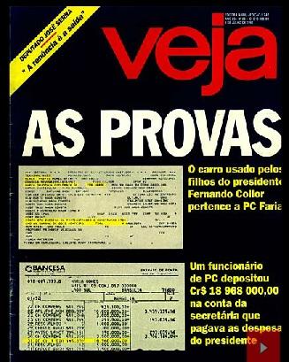 """Capa da Veja, de 8 de julho de 1992,  o """"furo"""" do Opala Blindado de PC Farias a serviço dos filhos do presidente."""