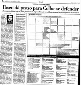 Folha de S.Paulo Edição 09.09.1992 pág. 06 -na época ninguem discutiu a formação da Comissão que analisaria o pedido de impeachment