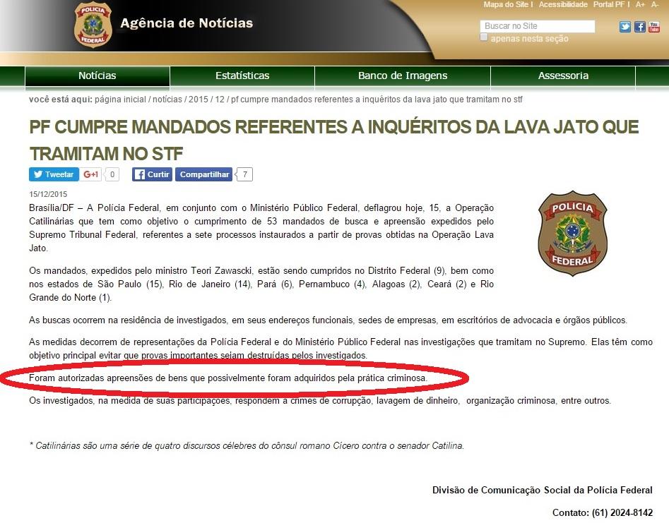 Nota Oficial da PF sobre a Operação Catilinárias