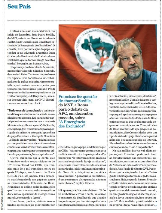 O-Cajado-de-Francisco - matéria da carta Capital de fevereiro de 2014 narrando a participação de Stédile no encontro de líderes de movimentos sociais com o papa Francisco.