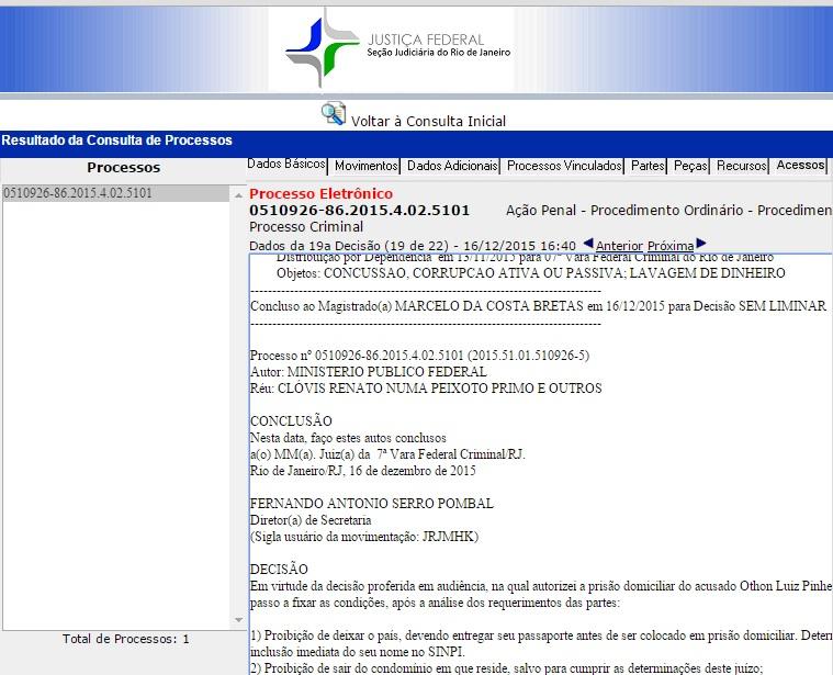 Site da Justiça Federal Rio, acesso apenas às decisões do juiz