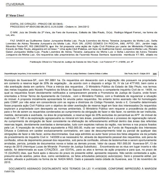 Edital de citação da 2ª Vara Cível de Ituverava: Guilherme não é encontrado para responder a ação por desrespeito ao Meio Ambiente (reprodução editada)
