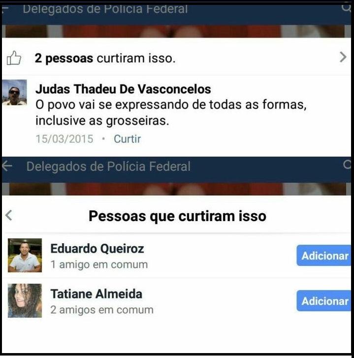 Nos comentários, Thadeu de Vasconcelos admitiu a grosseria da foto que ele postou e dois colegas curtirasm
