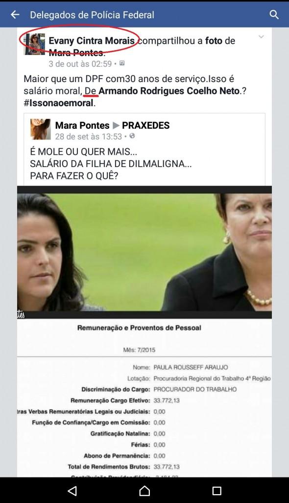 Postagem na página dos Delegados de Polícia foi de autoria da delegada Evany Cintra Moraes