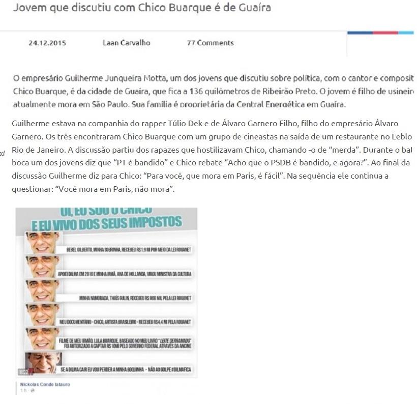 A reportagem da tribuna de Ribeirão Preto reproduz a postagem wue o fazendeiro Motta Luiz depois retirou de sua página no Face book