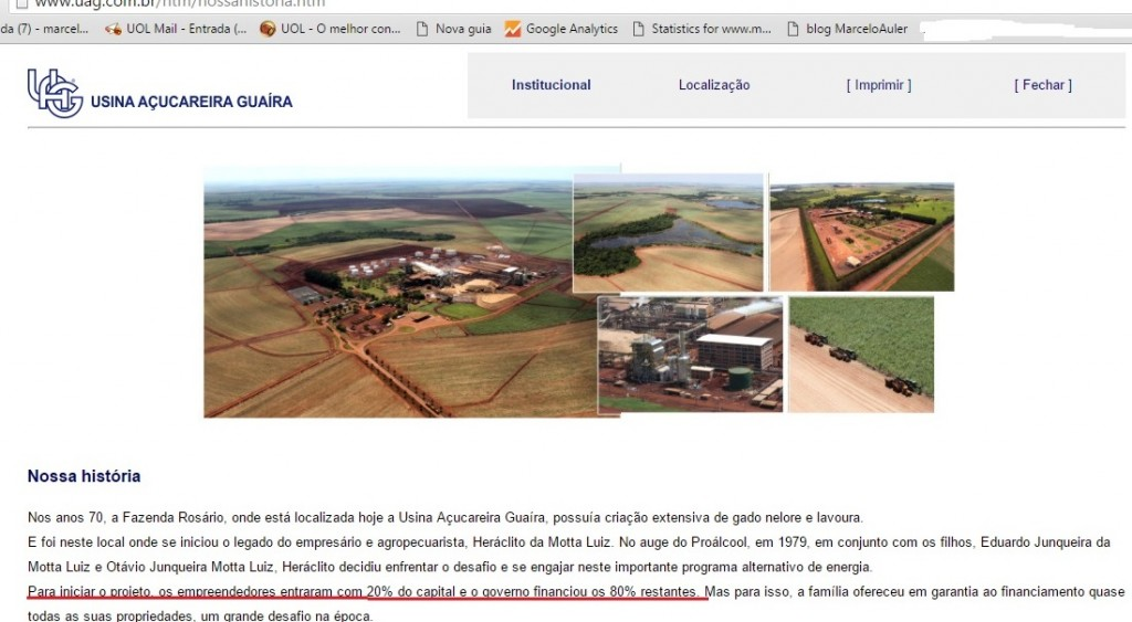 No site da UAG a notícia do financiamento do banco estatal para que a família Motta Luz criasse seu império,