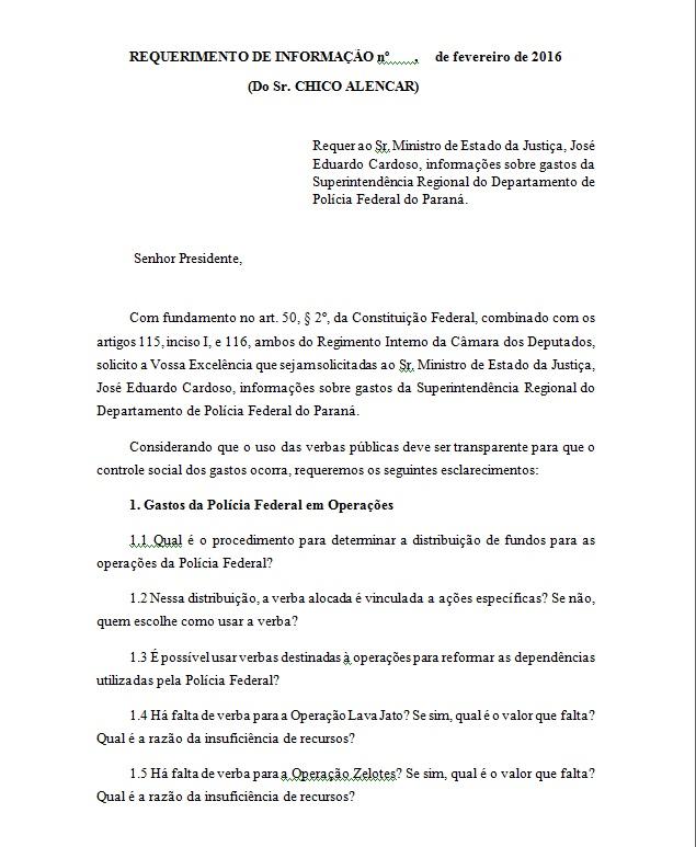 O Requerimento de Informações de Chico Alencar ao ministro Cardozo em que ele pede esclarecimentos sobre verbas para as Operações Policiais. Reprodução