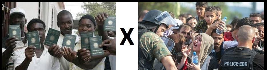No Brasil, haitianos já eram acolhidos, tinham a situação regularizada e apoio em busca de emprego. Por força da Ação movidas pelo MPT, tornou-se um compromisso oficial, uma política pública. Na Macedônia, à força, os sírios foram barrados. Fotos reproduções