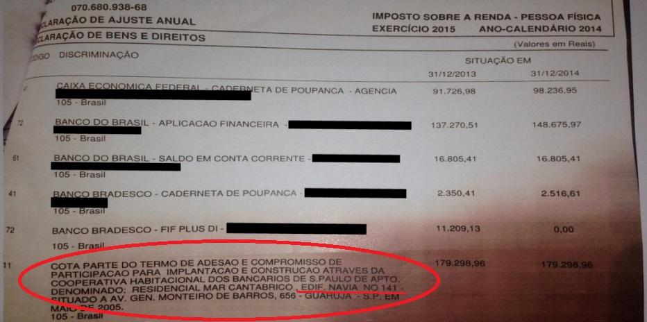 Na declaração de renda de Lula, o motivo da falsidade ideológica: ele cita o apartamento 141- reprodução