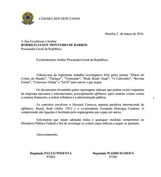 Oficio dos deputados Paulo Pimenta e Wadih Damous ao Procurador Geral da República - Reprodução.