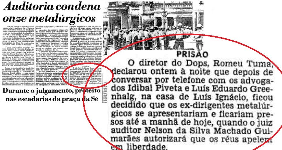 No Estadão de 26 de fevereiro o detalhe dos sindicalistas condenados se apresentando ao DOPS, sem a participação de policiais. Reprodução do jornal