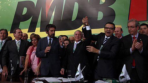 """""""Figuras ilibadas"""" como Michel Temer, Eduardo Cunha, Moreira Franco e Eliseu Padilha, comandaram o pulo no trapézio do PMDB - Foto Pública"""