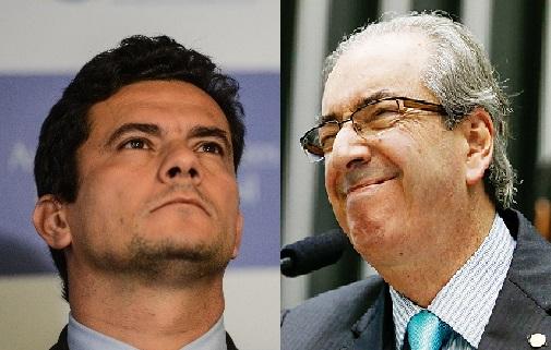 Em um mês o TRF-4 apreciou e arquivou o pedido de investigação contra Moro; Há quatro meses, o STF não julga o pedido de afastamento de Cunha da presidência da Câmara. Fotos reproduções