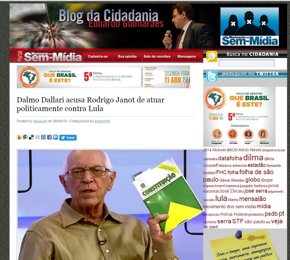 Dalmo Dallari ao Blog da Cidadania: Janot atuou politicamente.  Foto - reprodução