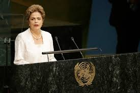 """Discurso de Dilma na ONU foi protocolar, mas mandou o recado aos líderes mundiais. Onde pronunciou """"qualquer retrocesso"""" pode-se se ler """"golpe"""". Foto reprodução"""