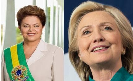 Enquanto no Brasil arma-se a destituição de Dilma Rousseff, em um golpe, nos EUA, pode ocorrer a ascensão de Hillary Clinton,. Fotos reprodução.