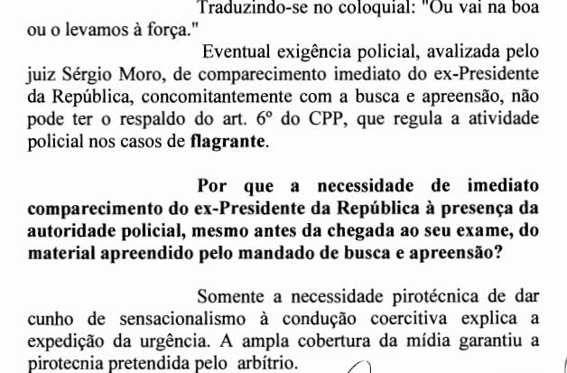 """Os advogados Beckers estocaram o juiz Sérgio Moro dizendo que o único motivo para levarem Lula no dia 4 de ,março era """"necessidade pirotécnica"""""""