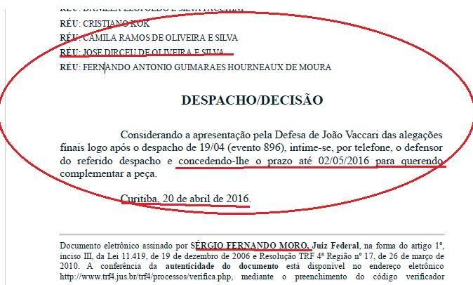Na quarta-feira, dia 20, o juiz Moro dilatou o prazo para as defesas apresentarem as suas Alegações Finais no processo. Ainda assim, na madrugada de sábado, dia 23, o Estadão anunciou como certa a condenação de José Dirceu. Só no domingo é que o jornal impresso colocou a condenação no condicional.